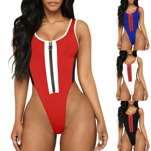 Womens Ladies Zipper O Neck Party Sleeveless Tops Leotard Bodysuit Jumpsuit
