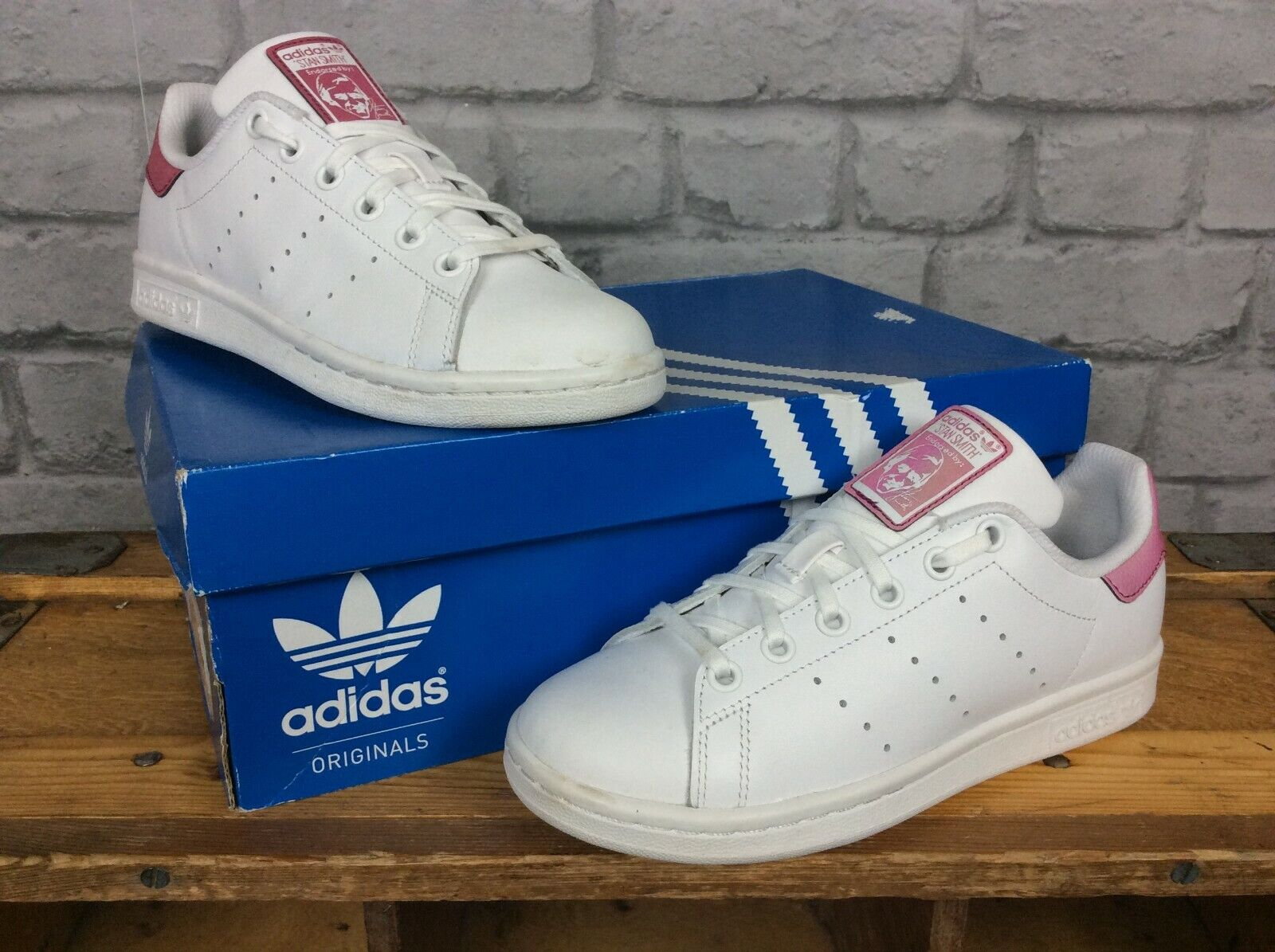 ADIDAS STAN SMITH WHITE LEATHER TRAINERS PINK LADIES GIRLS
