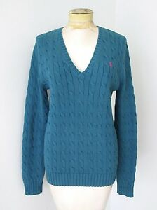 Ralph Lauren Sport Teal Green 100% Cotton Cable V-Neck Sweater ...