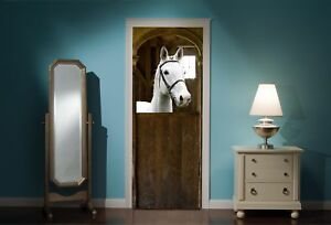 Door-Mural-Horse-Horses-Stable-View-Wall-Stickers-Decal-Wallpaper-44B