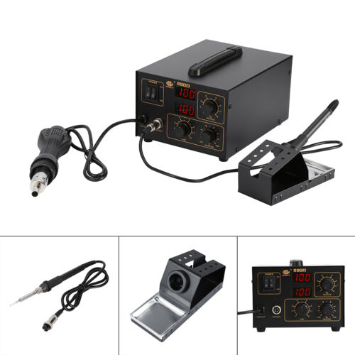 SMD HOT AIR REWORK SOLDERING STATION IRON WELDER /& HOT AIR GUN WITH NOZZLES 220V