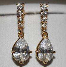 BRIDAL 18K Oro Placcato AAAA + Swiss Zirconi Stud Dangle Orecchini Pendenti UK