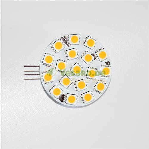 G4 LED Lampe Warm Weiß 2,6 Watt Rund dimmbar Stiftsockel GU4 18 SMD LEDs 250 Lum