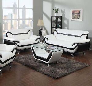 Rozene Set Living Room Stylish Color Black & White Sofa Loveseat Modern Couch