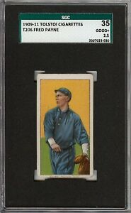 Rare 1909-11 T206 Fred Payne Tolstoi Back Chicago SGC 35 / 2.5 GD +