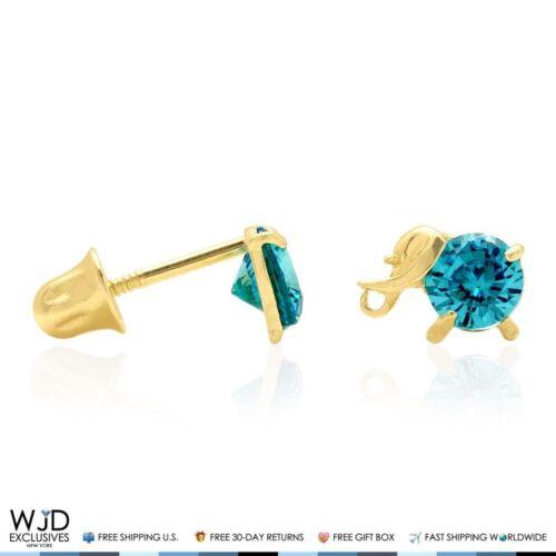 14K Solid Yellow Gold Round Blue Zircon Elephant Baby Screw Back Stud Earrings
