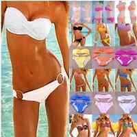 Sexy Womens Push-up Padded Bandeau Top&Bottom Bikini Swimwear Beach Swimsuit S-L