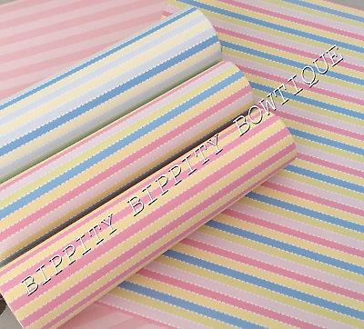 "GORGEOUS /""SOFT SUMMER STRIPE/"" PASTEL PRINTED FABRIC SHEET..HAIR BOWS"