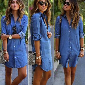 Vestito-abito-donna-denim-camicia-lunga-manica-lunga-Camicia-Estate-Camicia-Tunica-Lunga-Miniabito