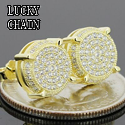 14K GOLD FINISH ICED OUT CZ ROUND 925 STERLING SILVER STUD EARRING 10mm E513