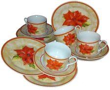 Kaffeeservice 12tlg.  4 Personen Blumen Tassen Teller Adventstern Sonderposten