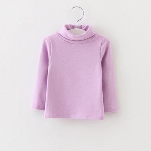 Toddler Kids Girl Long Sleeve High Collar Warm Tops T-Shirt Blouse Pullover XIU