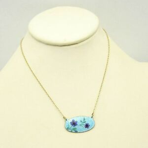 Vintage-Blue-Flowers-Oval-Guilloche-Enamel-Pendant-Necklace-Feminine-Pretty