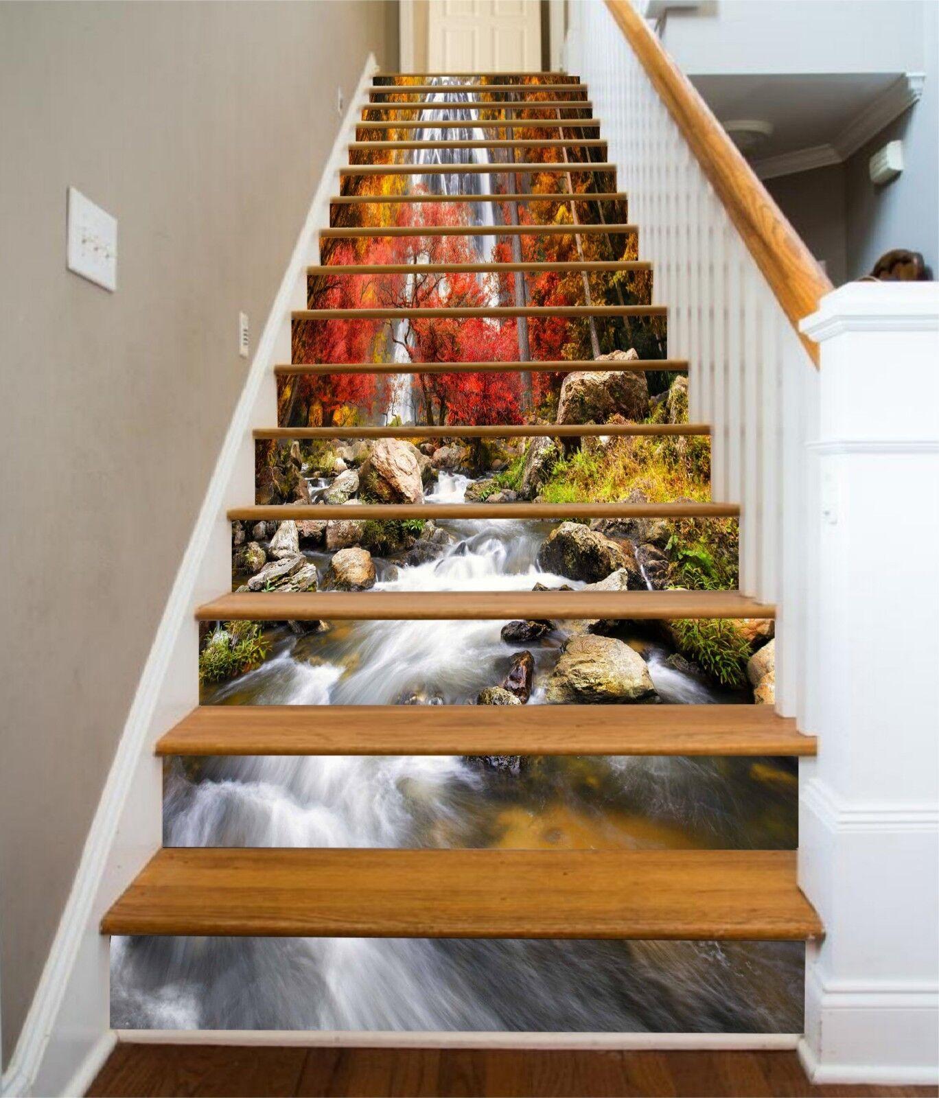3D Ruhiger Fluss 28 Stair Risers Dekoration Fototapete Vinyl Aufkleber Tapete DE