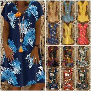 Boho-Women-Floral-Print-Dress-Short-Sleeve-V-Neck-Summer-Casual-Beach-Mini-Dress