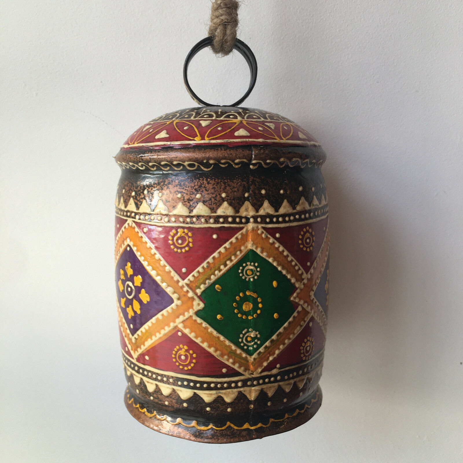 INDIAN HAND PAINTED METAL COW BELL Handmade WIND CHIME Cowbell BOHO GARDEN A