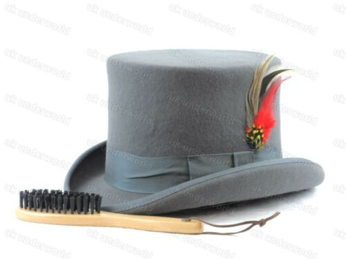 Mens Quality Hand Made 100/% Wool Top Hat Wedding Ascot Racers Adults Fancy Dress