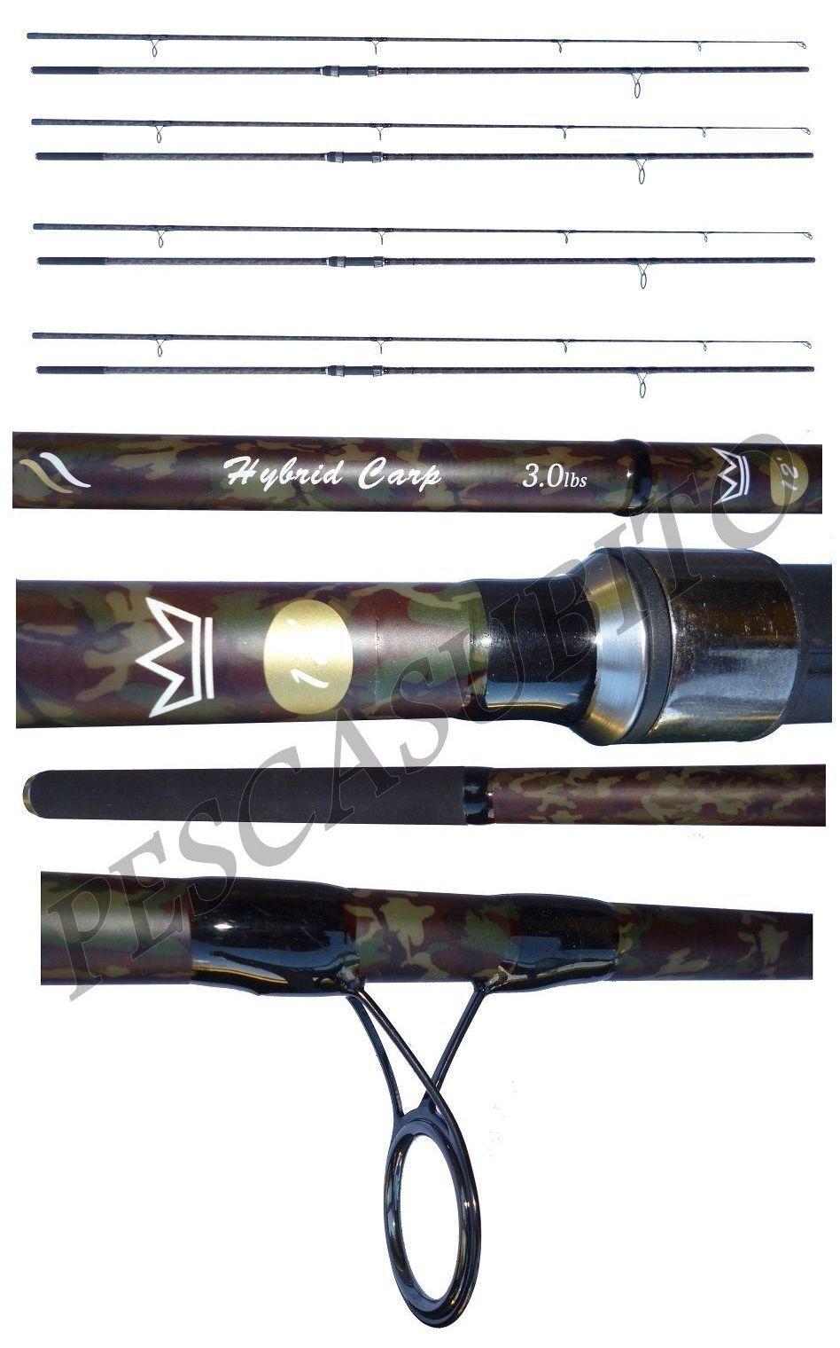 Carpfishing combo 4 canne mimetiche pesca carp fishing 3Lb kit carpa carbonio