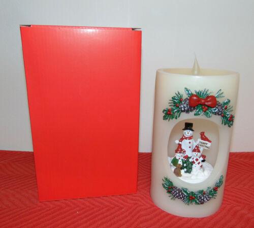 "7/"" Lighted Flameless Wax Pillar Candle w//Cut Out Rotating Snowman Scene Inside"