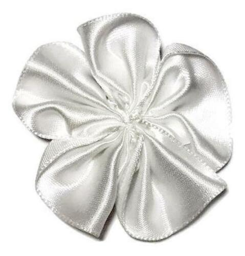 "3 pieces White 1.5/"" satin petal flower //DIY headband /& bows"