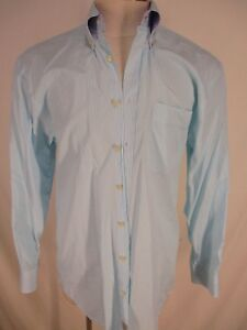 Peter Millar Mens Blue Green Stripe Long Sleeve Cotton Shirt M