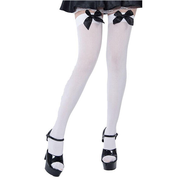 5eb24ca786d Adult Ladies Opaque White Stockings With Black Bow for Tights Fancy Dress  Access for sale online