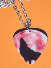 """WOLF NECKLACE HOWLING Moon & PEACE SIGN GUITAR PICK WOLVES 23"""" SILVER PLATED NEW"""