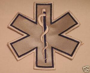 "EMS EMT Star of Life Emblem- 4"" Refective Blue Border"