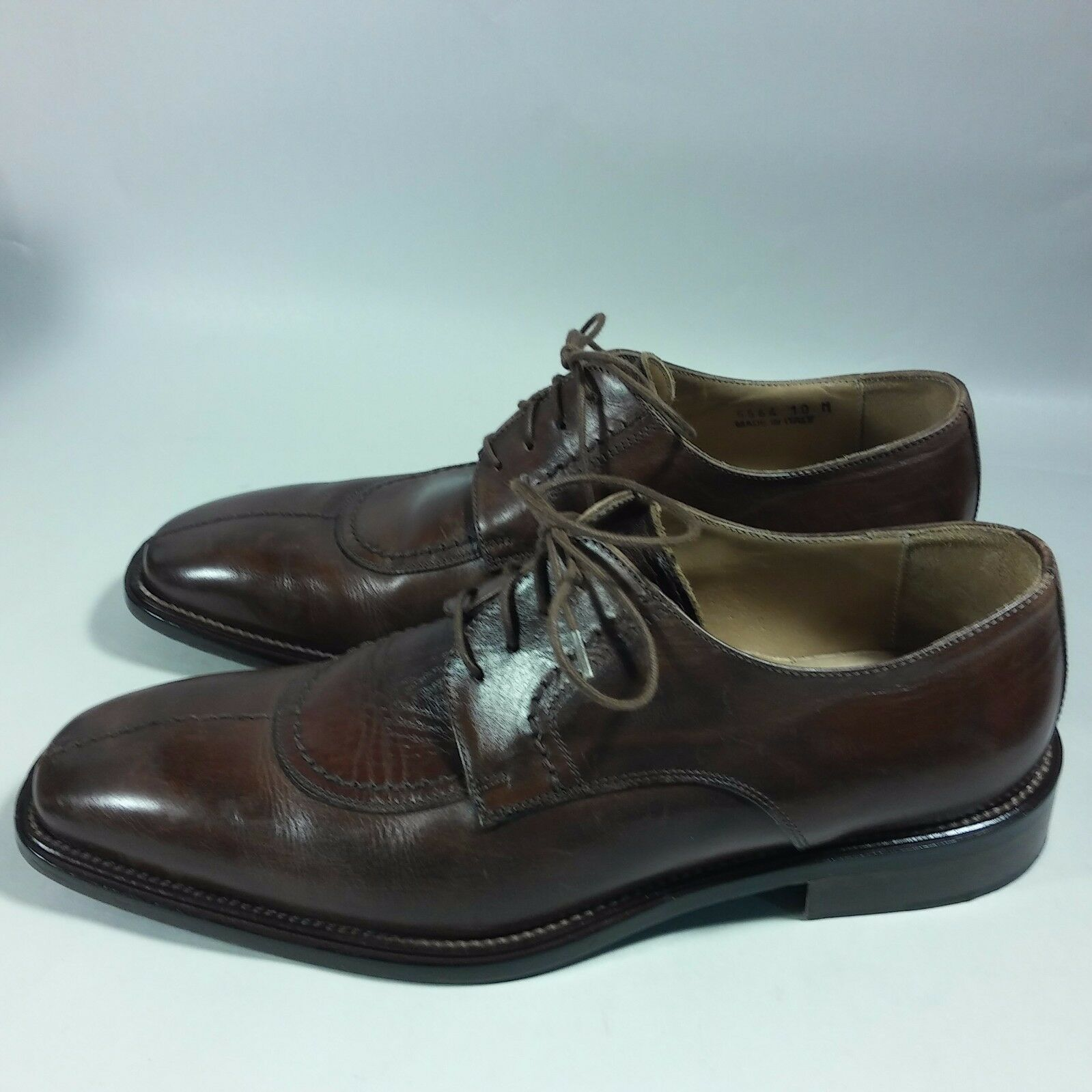 Men's Maximo Mirella shoes Dress Casual Oxfords Brown Leather-MADE IN ITALY-10 M