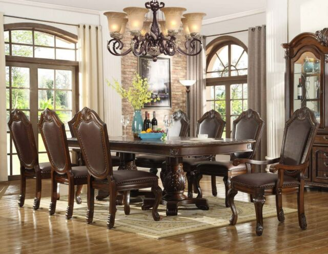 7pc Chateau Formal Traditional Cherry Finish Wood Leather Dining Table Set For Sale Online Ebay
