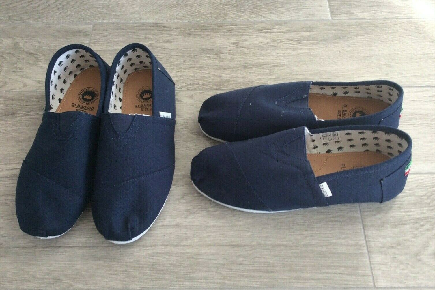 2 PAIRS OF MENS BAGGIO CANVAS PUMPS SLIGHT MARKS ON FRONT NAVY BLUE SIZE UK 8