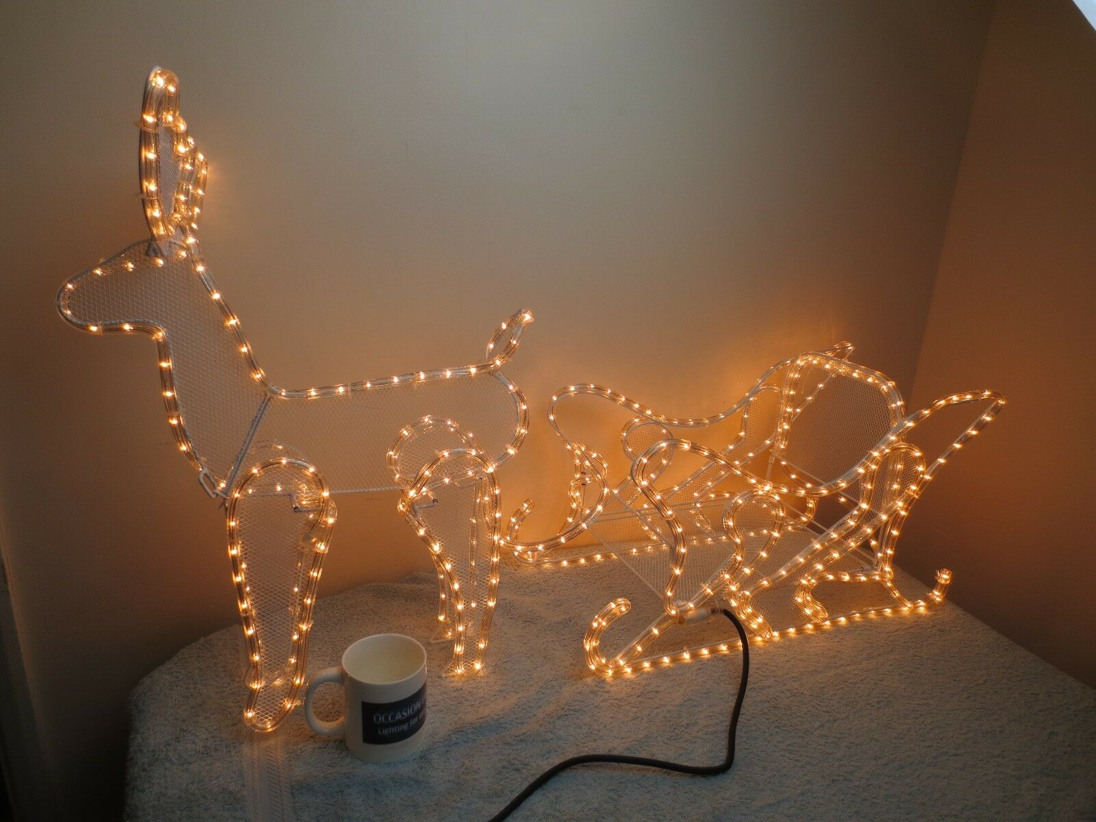 Gran Reno con pantalla de luz Luz de Navidad Trineo Jardín Luz luz de la cuerda Free P  P bf5ee4