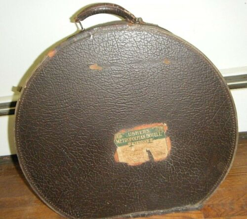 "ANTIQUE TRAVEL LUGGAGE ROUND 20"" X 18"" TRAIN TRUNK HAT BOX SYDNEY HOTEL LABEL"