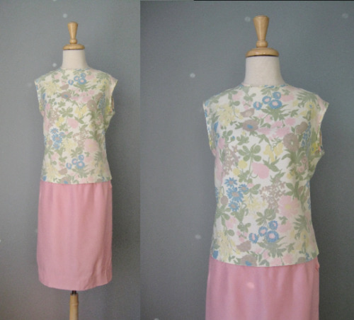 Vintage 2 piece dress Sleeveless Floral Sleeveless