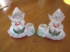 Set of 2 Vtg Christmas Spaghetti Angel Candle Holder Figurines Commodore Japan