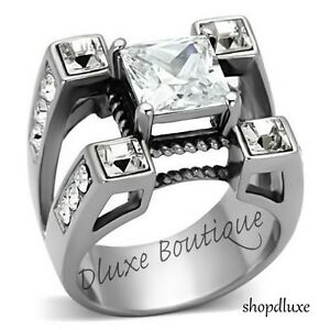 MEN-039-S-PRINCESS-CUT-SIMULATED-DIAMOND-SILVER-STAINLESS-STEEL-RING-SIZE-8-14