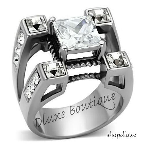MEN'S PRINCESS CUT CUBIC ZIRCONIA SILVER STAINLESS STEEL RING SIZE 8-14