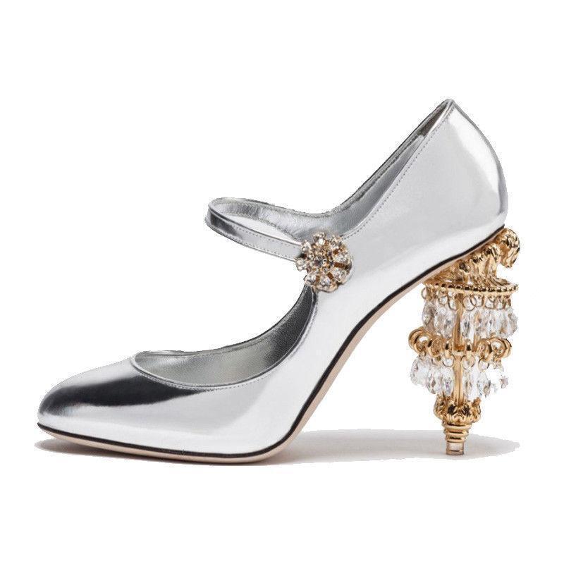 women sandal leather crystal shoes Mary Jane rhinestone high heel crystal leather nightclub Y885 6cee14