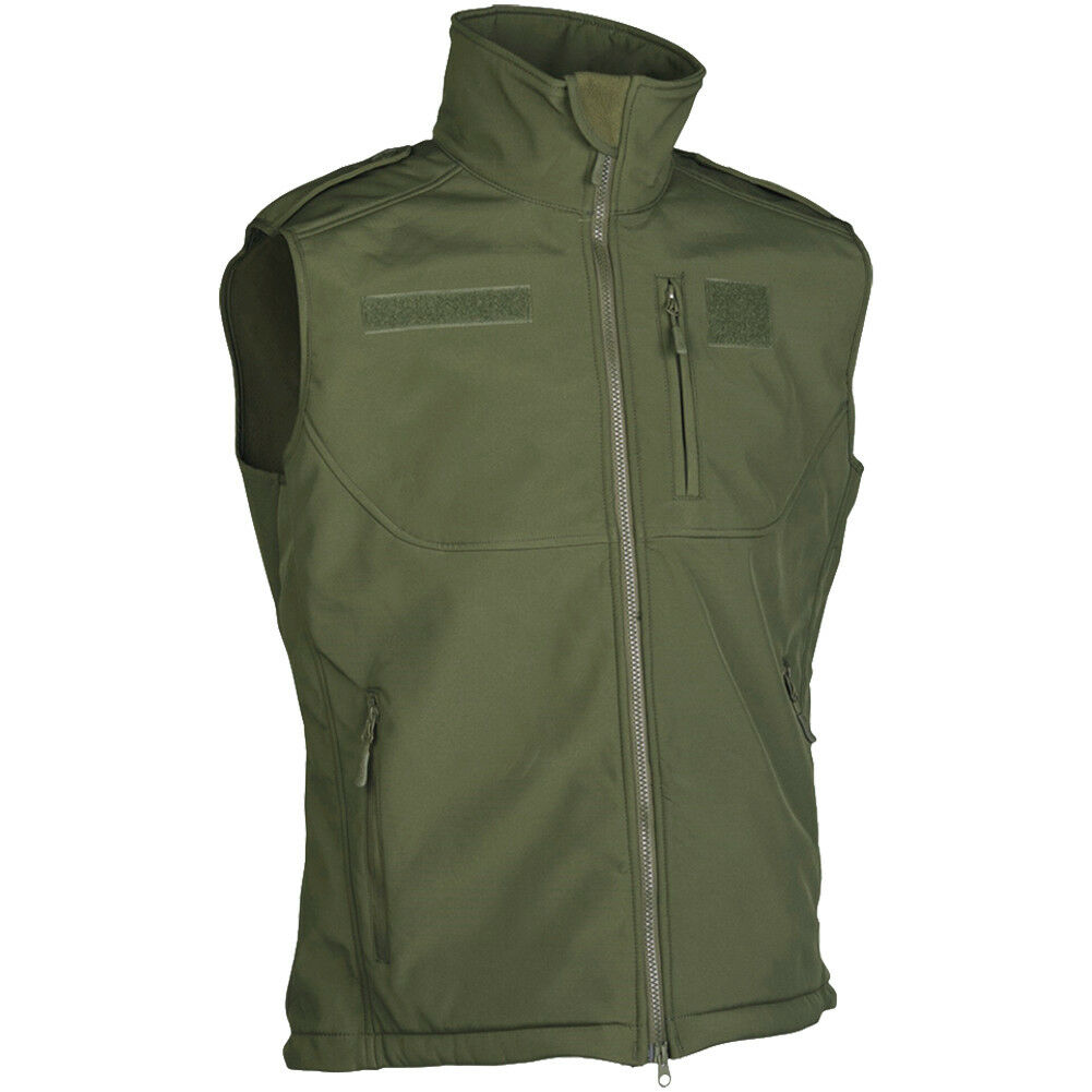 Mil-Tec Soft Shell Vest Military Security Police Gillet Mens Outdoor Wear Olive