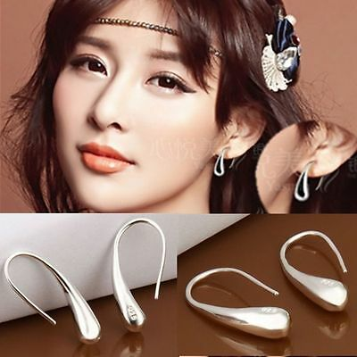 Womens Fashion Silver Tone Teardrop Hook Studs Earrings Jewelry Gift W87S