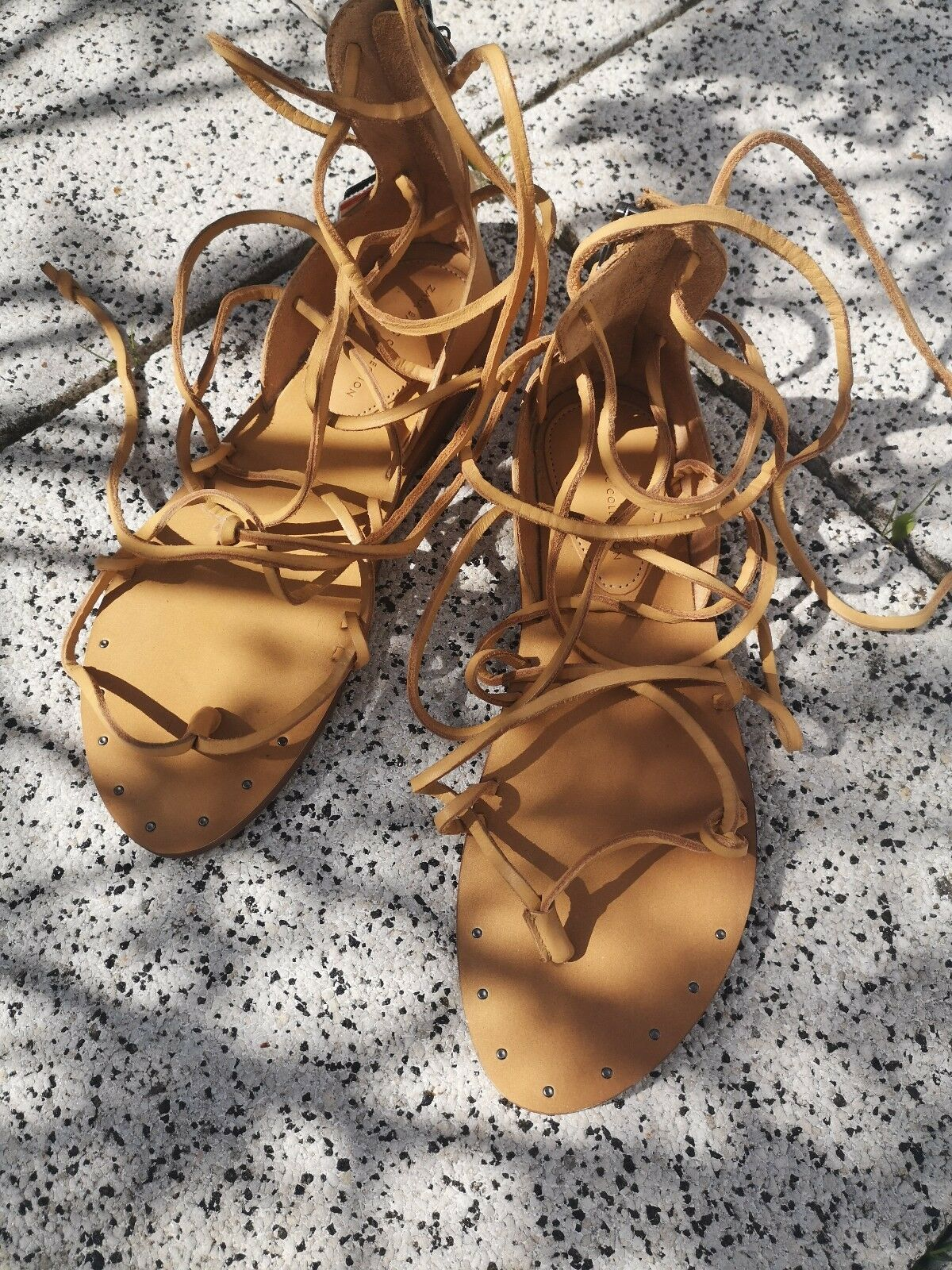 Sandale 38 zara lace up Sandalette echtes Leder Greek hippie ibiza schnüren
