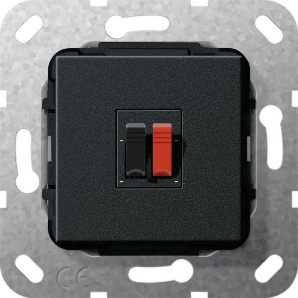 Gira Lautsprecher Anschluss 1fach Einsatz Schwarz matt 569210