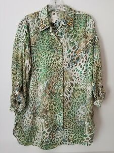 Chico's Women's Tunic Top Embellished Roll Tab Sleeve Size 0 Small Oversized EUC