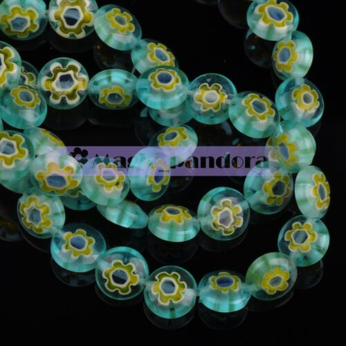 DIY 8x4mm 50pcs Lampwork Glass Crystal Charms Loose Spacer Flat Beads Findings