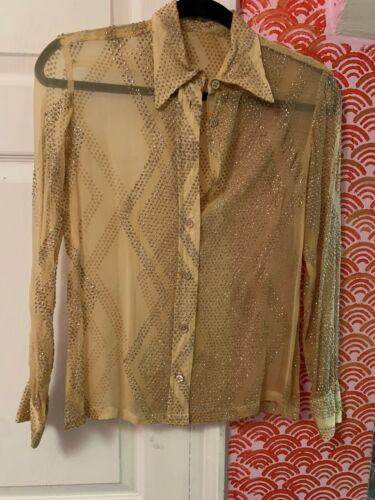 Rare 1940s Hand Painted Glitter Sheer Silk Blouse