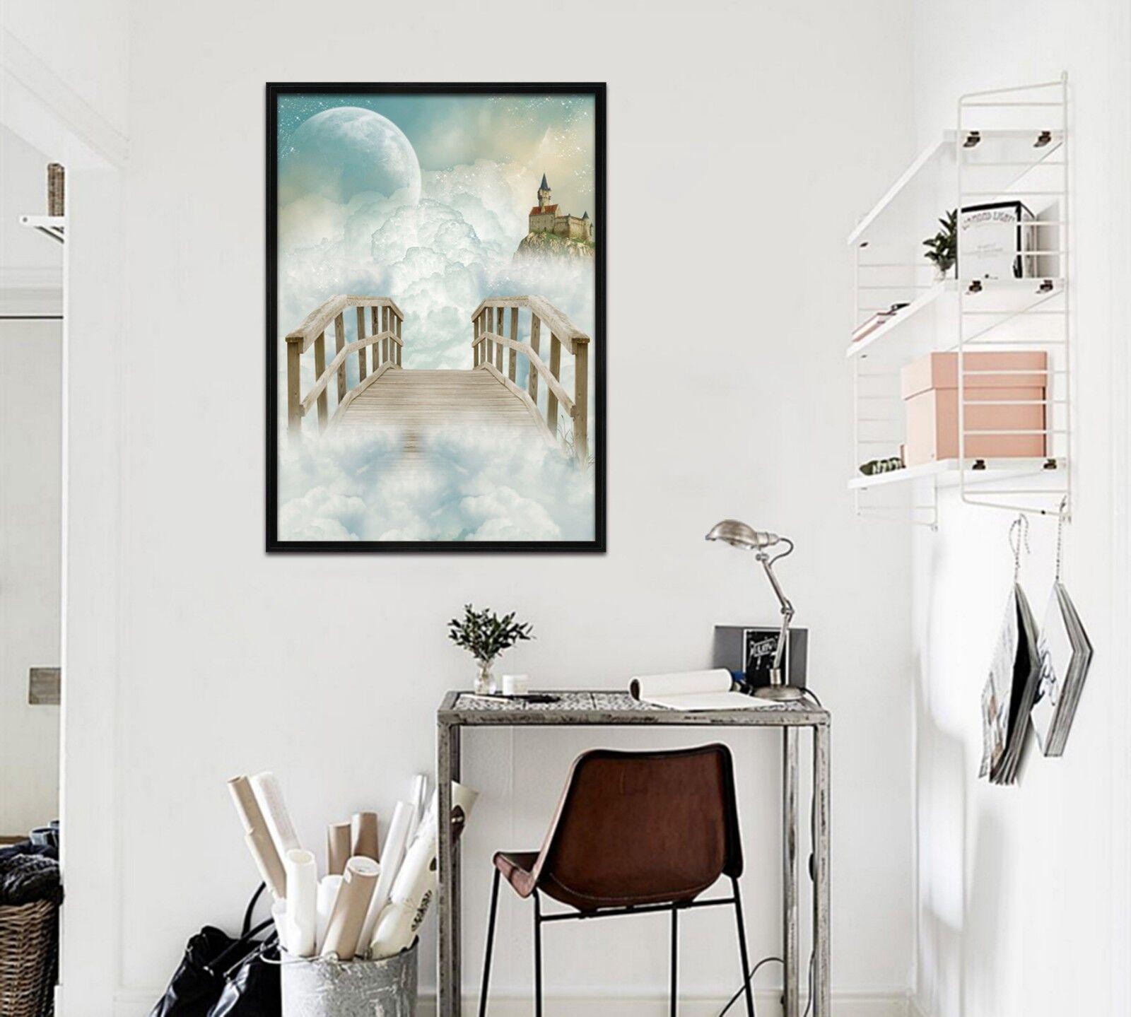 Castillo de puente en la nube 3D 2 Póster Enmarcado Decoración del Hogar Pintura de Impresión Arte Wallpaper