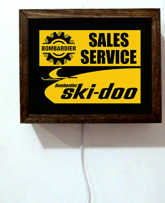 Ski-Doo Bombardier Snowmoble Motorcycle Repair Service Shop Light Lighted Sign
