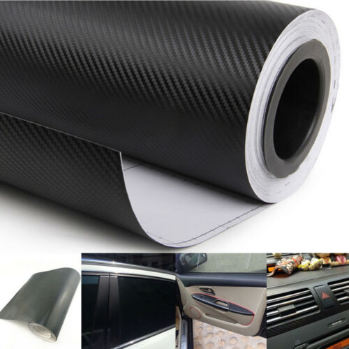 3D Car Interior Accessory Interior Panel Black Carbon Fiber Vinyl Wrap Sticker