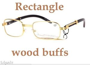 1953f536df New Rectangle Wood Buffs Unisex clear glasses UV400 Lenses and Gold ...