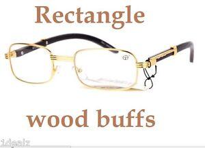 New Rectangle Wood Buffs Unisex clear glasses UV400 Lenses ...